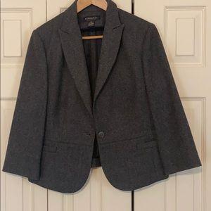 Brooks Brothers Grey Wool 3/4 Sleeve Blazer Sz 12